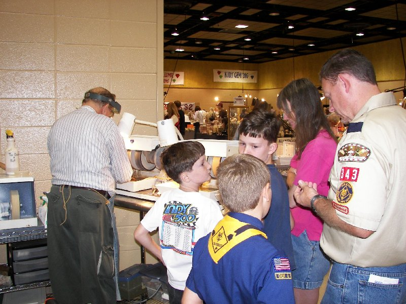 Lapidary demonstration at the Huntsville Gem, Jewelry, and Mineral Show