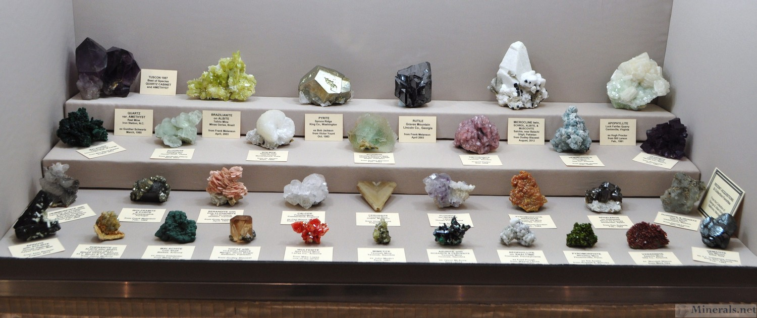 Award-winning mineral display at the Huntsville Gem, Jewelry, and Mineral Show