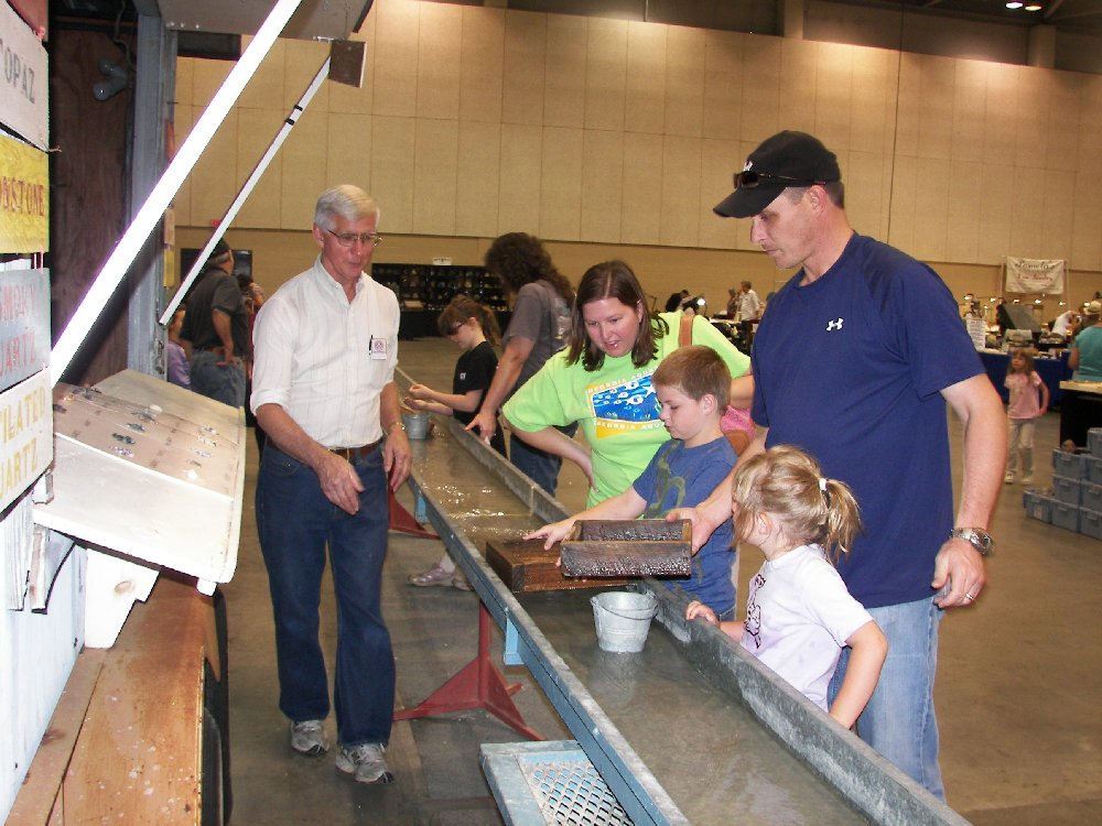rock flume mining activity for kids at the Huntsville Gem Jewelry and Mineral Show